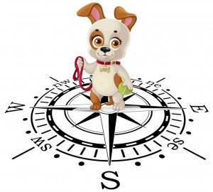 Dog walking route guide image, puppy on compass